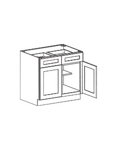 2 Door 2 Drawer Base Cabinet-Shaker Espresso